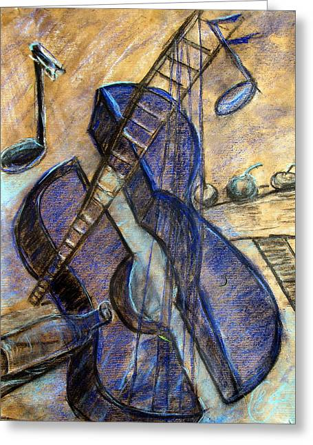 Pablo Mixed Media Greeting Cards - Blue Guitar - about Pablo Picasso Greeting Card by Errol  Jameson