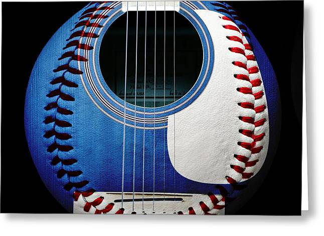 Recreation Mixed Media Greeting Cards - Blue Guitar Baseball Square Greeting Card by Andee Design