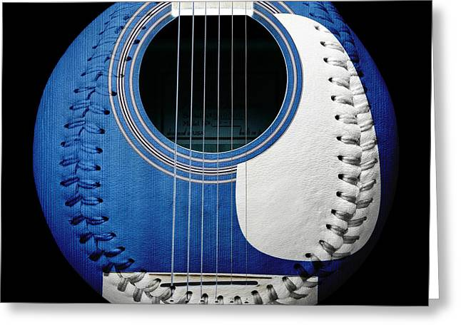 Fine Mixed Media Greeting Cards - Blue Guitar Baseball White Laces Square Greeting Card by Andee Design