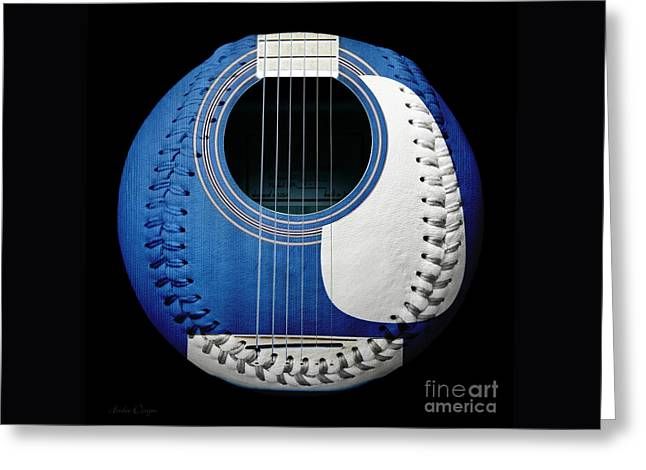 Baseball Art Greeting Cards - Blue Guitar Baseball White Laces Square Greeting Card by Andee Design