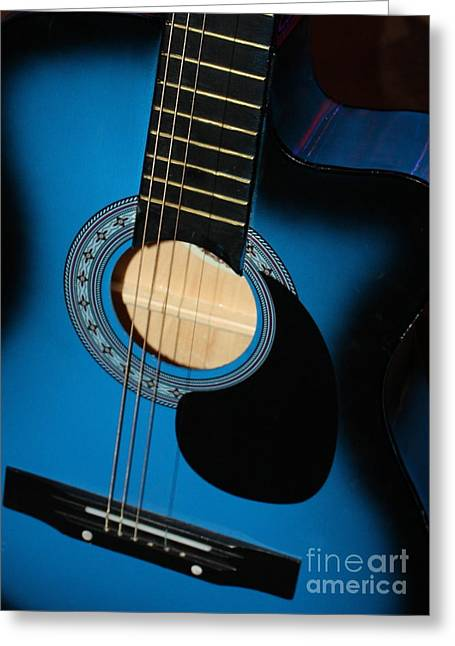 Guitar Stings Greeting Cards - Blue Guitar Greeting Card by Carol Groenen