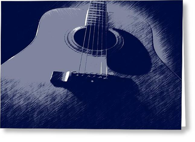 Session Musician Greeting Cards - Blue Guitar Greeting Card by Photographic Arts And Design Studio