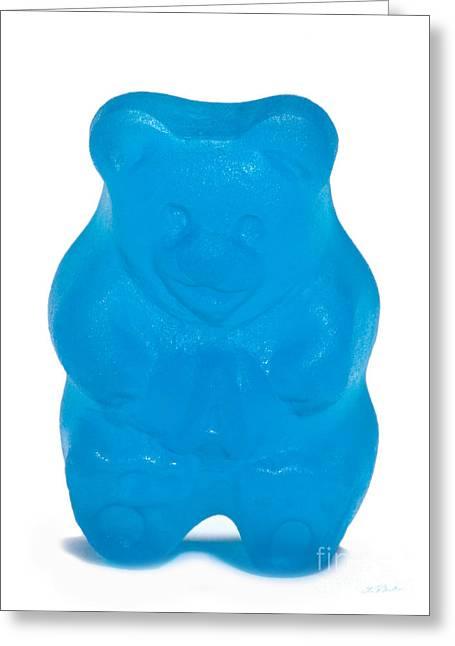 Gummy Candy Greeting Cards - Blue Gummy Bear Greeting Card by Iris Richardson