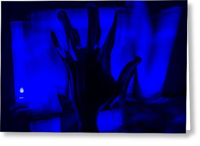 Purchase Greeting Cards - Blue Hand Greeting Card by Aaron Priestley-Wright