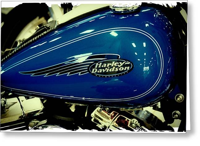 Handle Bar Greeting Cards - Blue Harley II Greeting Card by David Patterson
