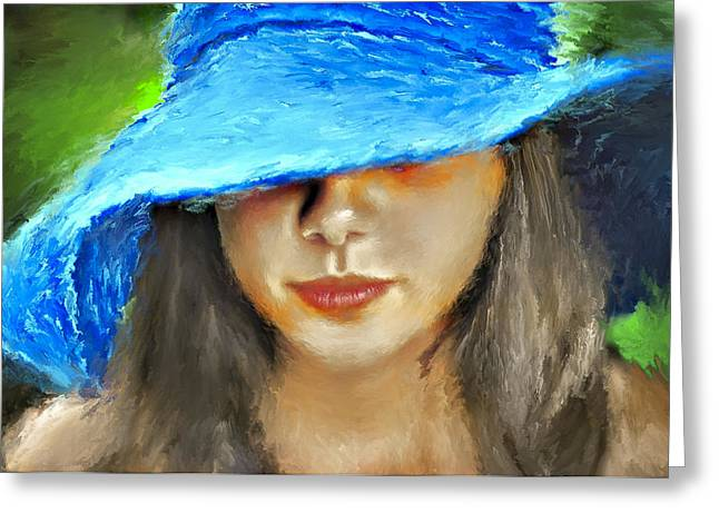 Lovely Digital Art Greeting Cards - Blue Hat Portrait Greeting Card by Yury Malkov