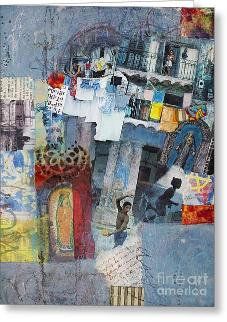 Cloth Greeting Cards - Blue Havana Greeting Card by Elena Nosyreva