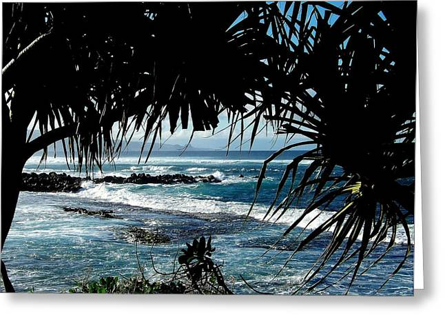 Reflective Water Greeting Cards - Blue Hawaii Greeting Card by Karen Wiles