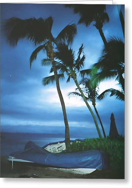 Ethereal Beach Scene Greeting Cards - Blue Hawaii With Planets at Night Greeting Card by Connie Fox
