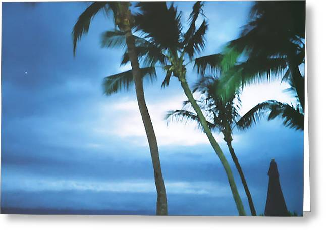 Blue Hawaii With Planets at Night Greeting Card by Connie Fox