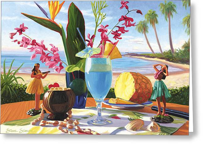 Bar Art Greeting Cards - Blue Hawaiian Greeting Card by Steve Simon