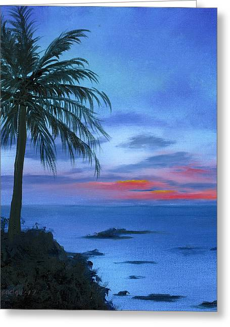 Blue Hawaiian Sunset Greeting Card by Cecilia Brendel