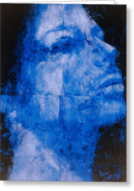 Visage Greeting Cards - Blue Head Greeting Card by Graham Dean