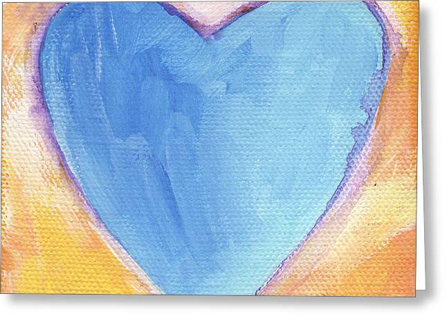 Anniversary Mixed Media Greeting Cards - Blue Heart Greeting Card by Linda Woods