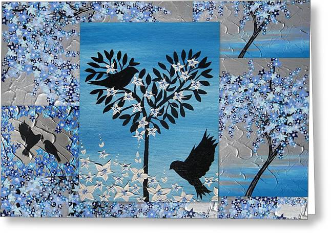 Catherine Mixed Media Greeting Cards - Blue Heart Tree Greeting Card by Cathy Jacobs