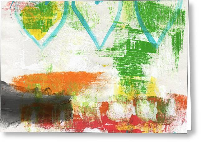 Teen Greeting Cards - Blue Hearts- abstract painting Greeting Card by Linda Woods