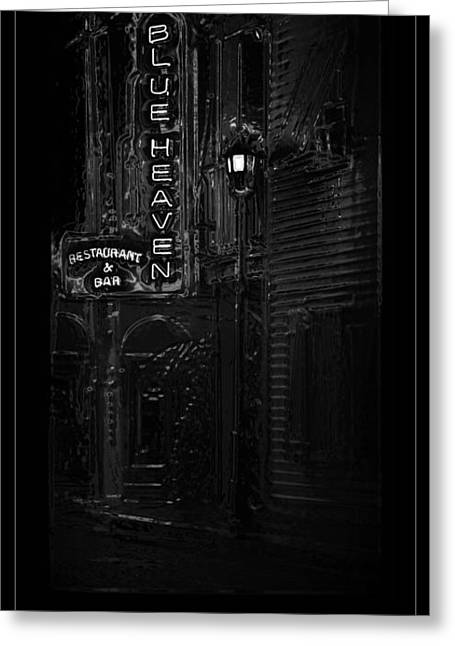 Landmark Posters Greeting Cards - Blue Heaven Key West Black And White Greeting Card by John Stephens