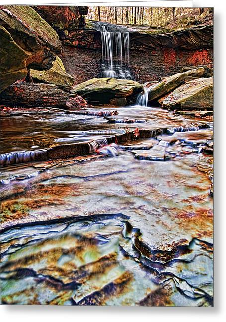 Up And Coming Greeting Cards - Blue Hen Falls Greeting Card by Marcia Colelli
