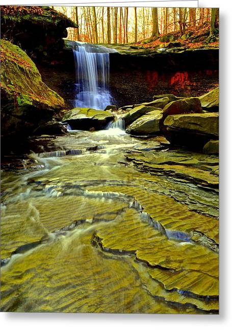 Blue Hen Falls Greeting Card by Frozen in Time Fine Art Photography