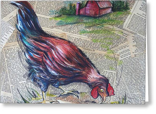 Barn Yard Mixed Media Greeting Cards - Blue Hen on vintage papers Greeting Card by GG Burns