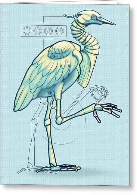 Robots Greeting Cards - Blue Heron 3000 Greeting Card by Vanessa Bates