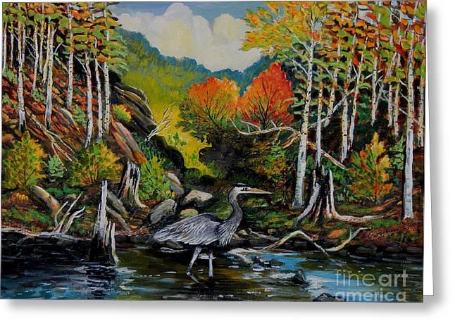 Forestland; Hills Greeting Cards - Blue Heron Greeting Card by Denis Grosjean