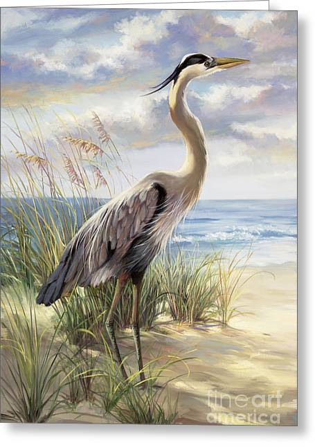 Tropical Bird Greeting Cards - Blue Heron Deux Greeting Card by Laurie Hein