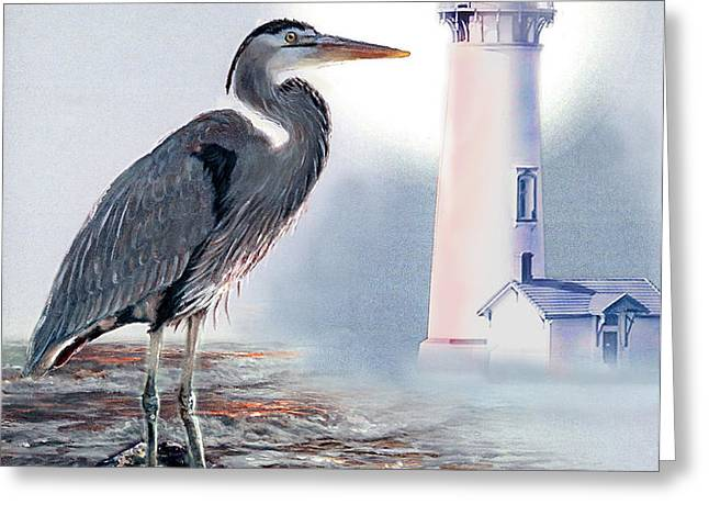 Blue heron In the circle of light Greeting Card by Gina Femrite