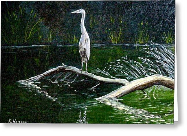 Fishing Creek Mixed Media Greeting Cards - Blue Heron Greeting Card by Kenny Henson