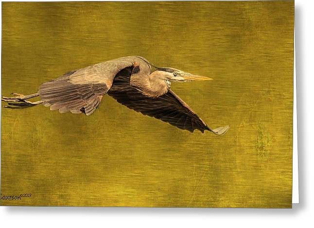 Courson Greeting Cards - Blue Heron On Gold Greeting Card by CR  Courson