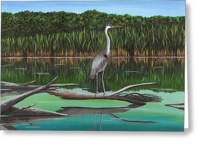 Cyndi Kingsley Greeting Cards - Blue Heron on Irondequoit Creek Rochester NY Greeting Card by Cyndi Kingsley