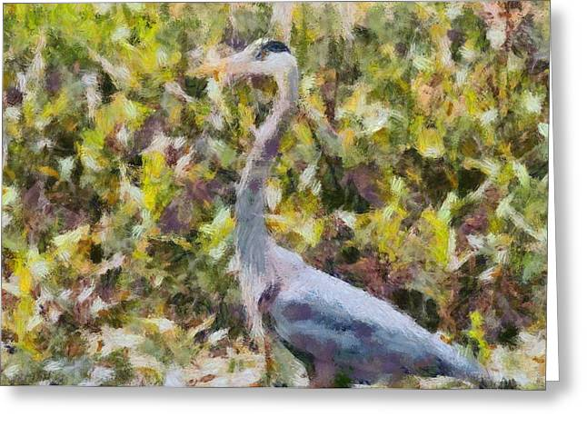 Great Migration Greeting Cards - Blue Heron Painting Greeting Card by Dan Sproul