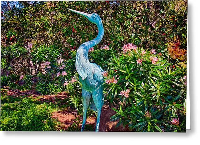 Owfotografik Photographs Greeting Cards - Blue Heron Sculpture Greeting Card by Omaste Witkowski