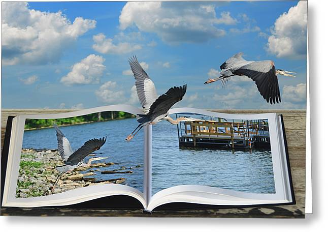 Blue Heron Storybook Greeting Card by Steven  Michael