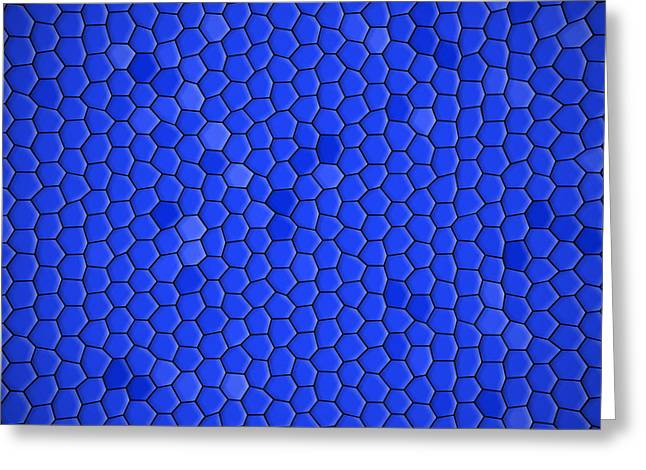 Hexagons Greeting Cards - Blue Hexagonal Texture Background Greeting Card by Valentino Visentini