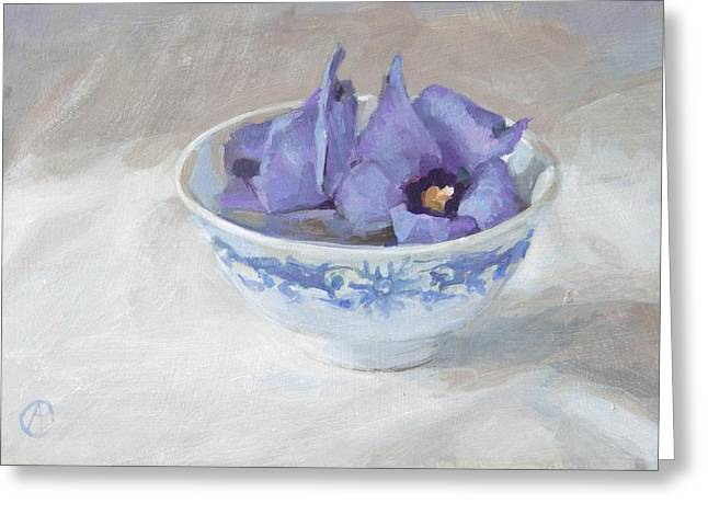 Kitchen Photos Paintings Greeting Cards - Blue hibiscus flower in chinese cup Greeting Card by Anke Classen