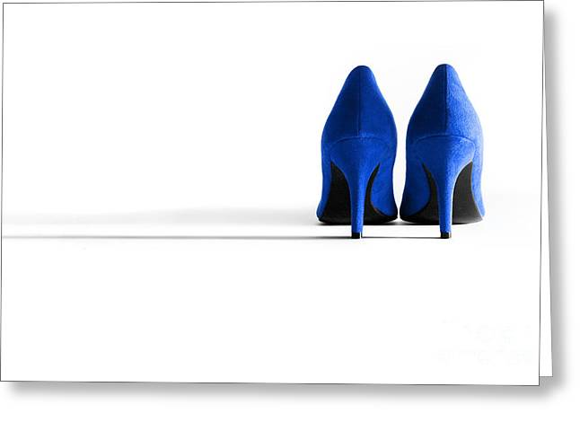 Blue High Heel Shoes Greeting Card by Natalie Kinnear