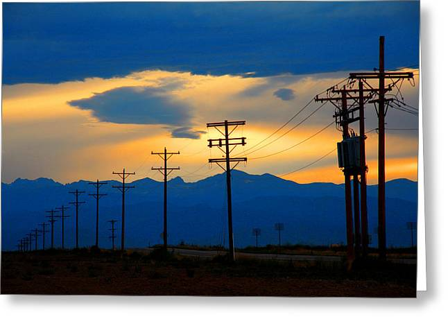 Gloaming Greeting Cards - Blue Highway Greeting Card by Mike Flynn