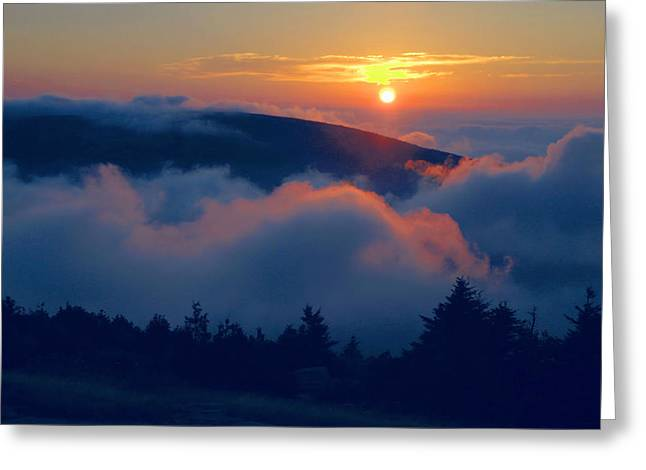 Blue Hill Sunset - Acadia Greeting Card by Stephen  Vecchiotti