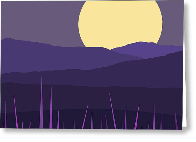 Moonlit Night Greeting Cards - Blue Hills - Lavender Sky Greeting Card by Val Arie