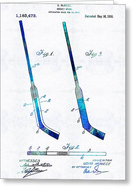 Sports Drawings Greeting Cards - Blue Hockey Stick Art Patent - Sharon Cummings Greeting Card by Sharon Cummings