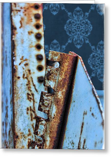 Textile Photographs Greeting Cards - Blue Holes Greeting Card by Sylvia Thornton