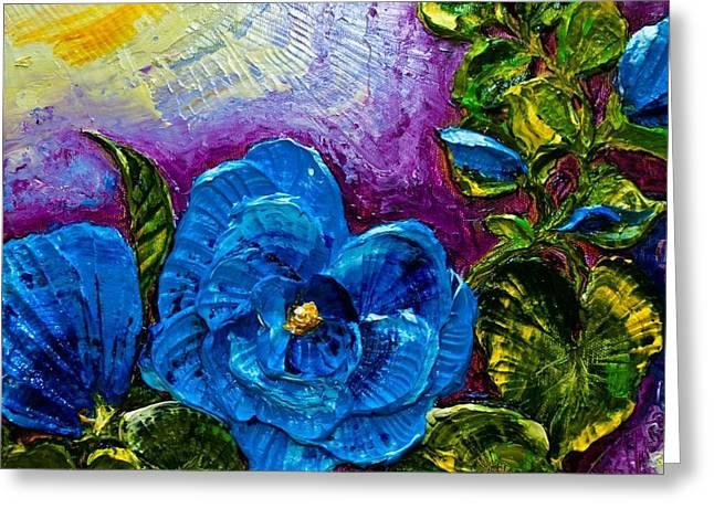Blue Hollyhocks Greeting Card by Paris Wyatt Llanso