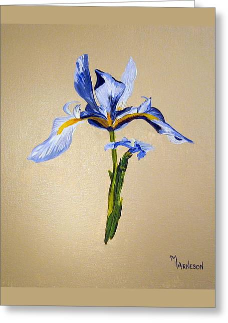 Single-celled Paintings Greeting Cards - Blue Horizon Greeting Card by Mary Arneson