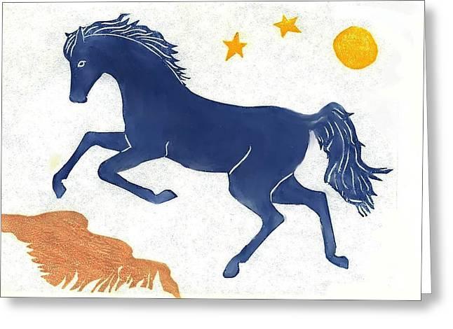 Block Print Drawings Greeting Cards - Blue Horse Greeting Card by Dawn Senior-Trask