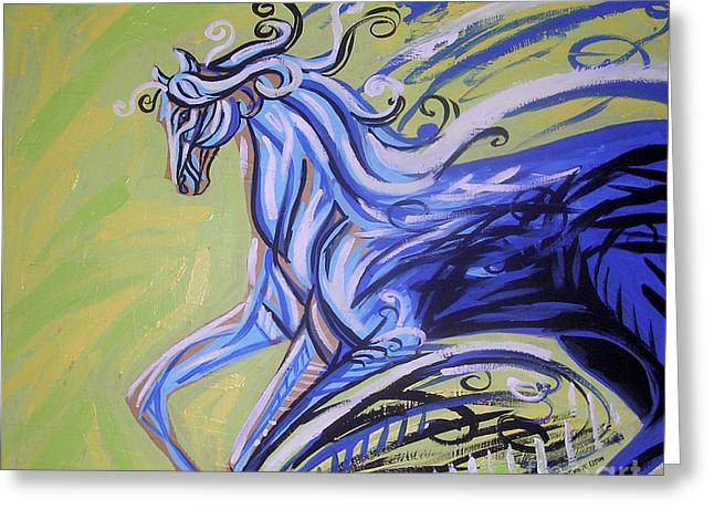 Blue Horse Greeting Card by Genevieve Esson