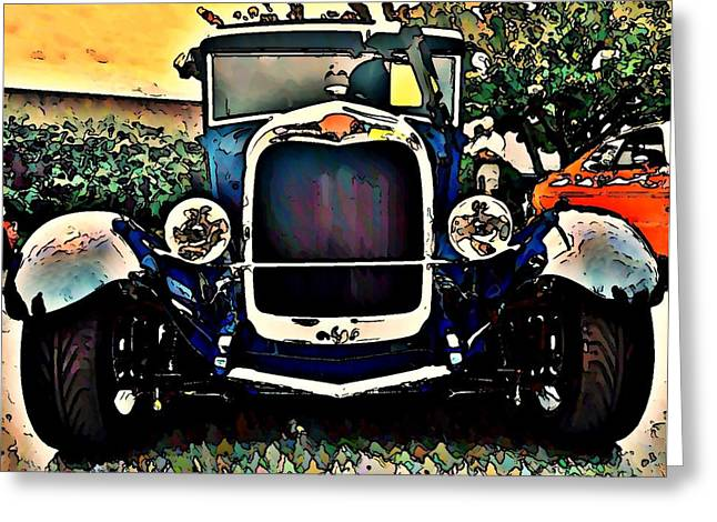 Car Hod Greeting Cards - Blue Hot Rod Greeting Card by Stanley  Funk