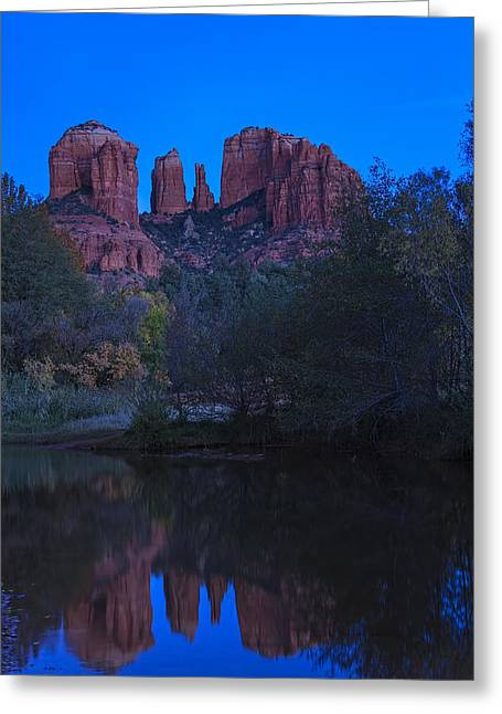Red Rock Crossing Greeting Cards - Blue Hour at Cathedral Rock Greeting Card by Medicine Tree Studios