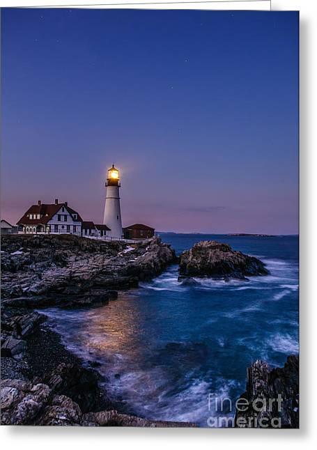 Portland Head Lighthouse Greeting Cards - Blue Hour at Portland Head Lighthouse Greeting Card by Scott Thorp