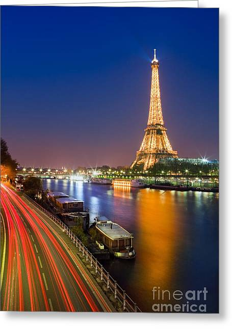Acryl Greeting Cards - Blue Hour in Paris with the Eiffeltower Greeting Card by Henk Meijer Photography